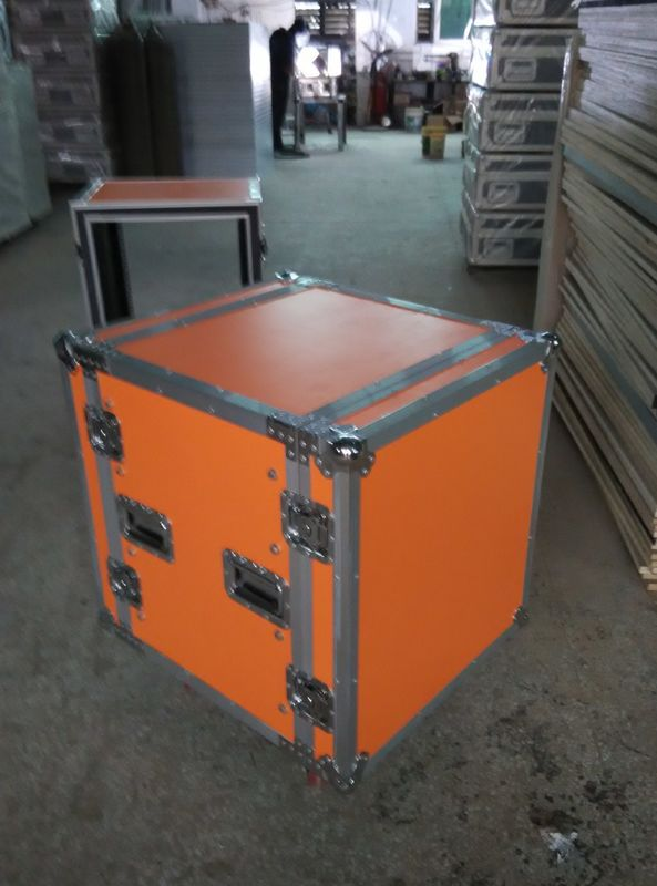 Orange Plywood Speaker Aluminum Tool Cases 2 In One With 4'' Strong PVC Wheels