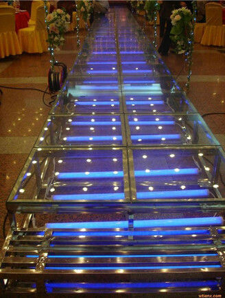 1.22 X 1.22 M Aluminum / Glass / Acrylic Stage Platform 3 Steps Stair